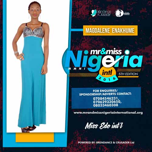 Enakhumhe Magdalene, Finalists, Mr And Miss Nigeria International Pageant 2016