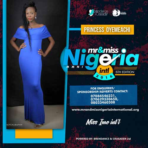 Princess Onyemachi, Finalists, Mr And Miss Nigeria International Pageant 2016