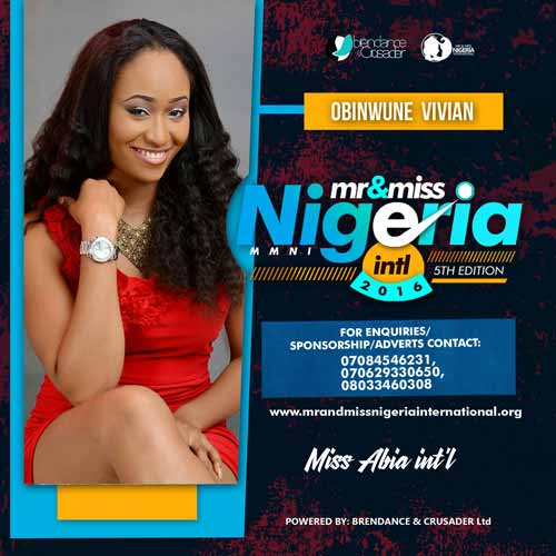 Obinwune Vivian, Finalists, Mr And Miss Nigeria International Pageant 2016