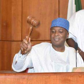 PRESIDENT BUHARI FELICITATES WITH SENATE PRESIDENT, SARAKI AT 54