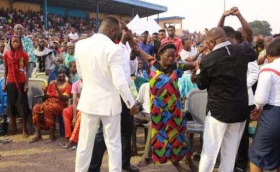 In Ughelli, Apostle Suleman Heals Deaf & Dumb, Waiting Couple Testify With Kids