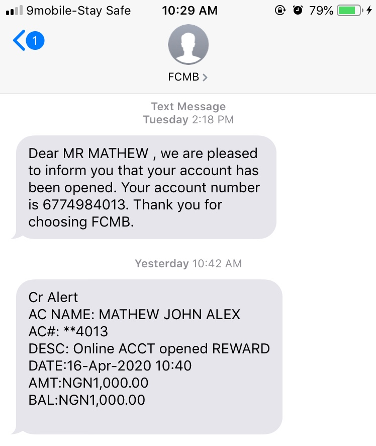 FCMB 1000 Naira cash reward