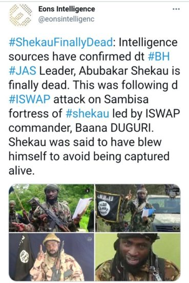 """1621515939 835 Shekau Finally Dead Commits Suicide During ISWAP Attack Eons - """"Shekau Finally Dead. Commits Suicide During ISWAP Attack"""" - Eons Intelligence"""