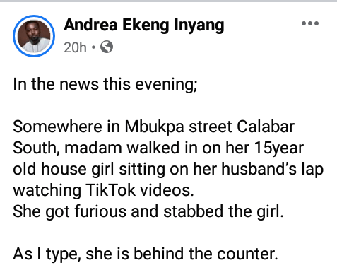 Woman allegedly stabs her 15-year-old housemaid in Calabar after she found her sitting on husband