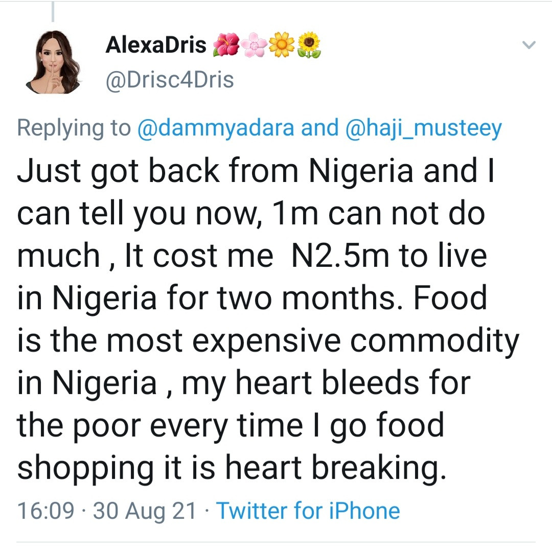 """612d5f2dbba78 - """"It cost me 2.5 million to live in Nigeria for two months"""" UK-based woman who visited Nigeria says her heart bleeds for the poor in the country"""