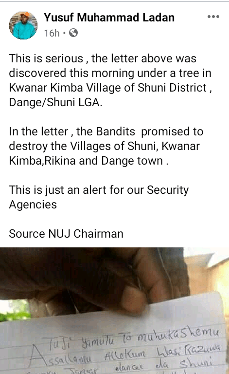 Panic as bandits allegedly send threat letter to four Sokoto communities