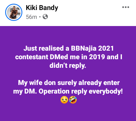 Popular Cameroonian lesbian, Kiki Bandy claims a female BBNaija 2021 contestant DMed her two years ago