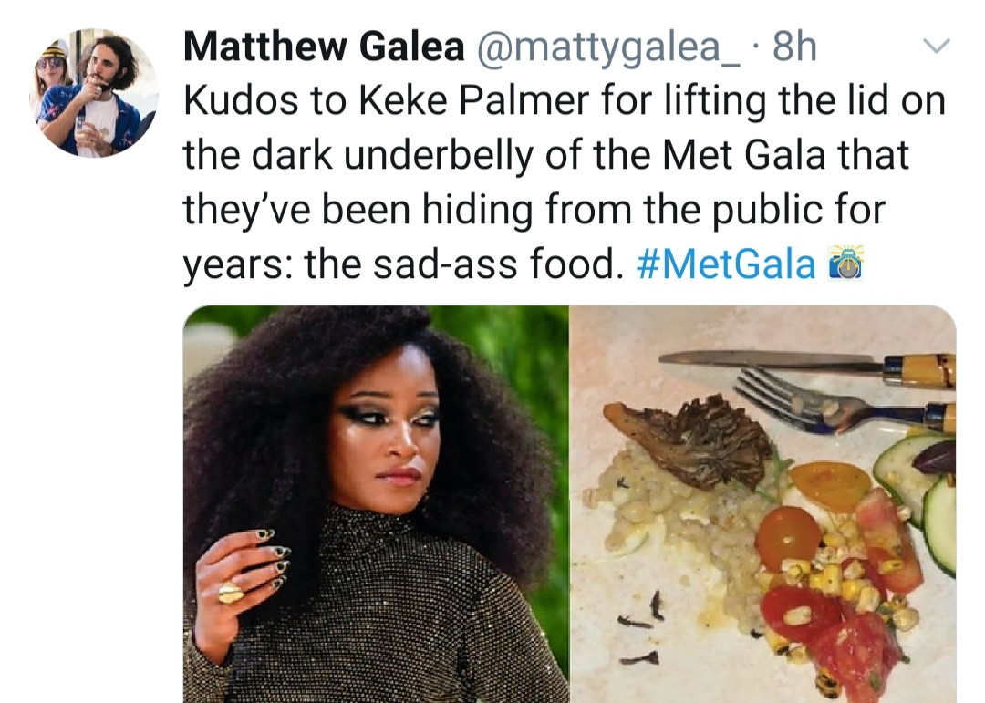 """6140aeda58c9f - """"This is why they don't show you the food"""" Keke Palmer jokes as she shows the meal they were served at the Met Gala"""