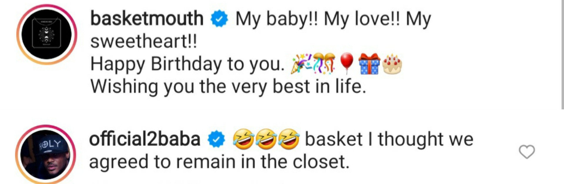 614632b22ee75 - Hilarious bant between comedian Basketmouth and singer 2face Idibia