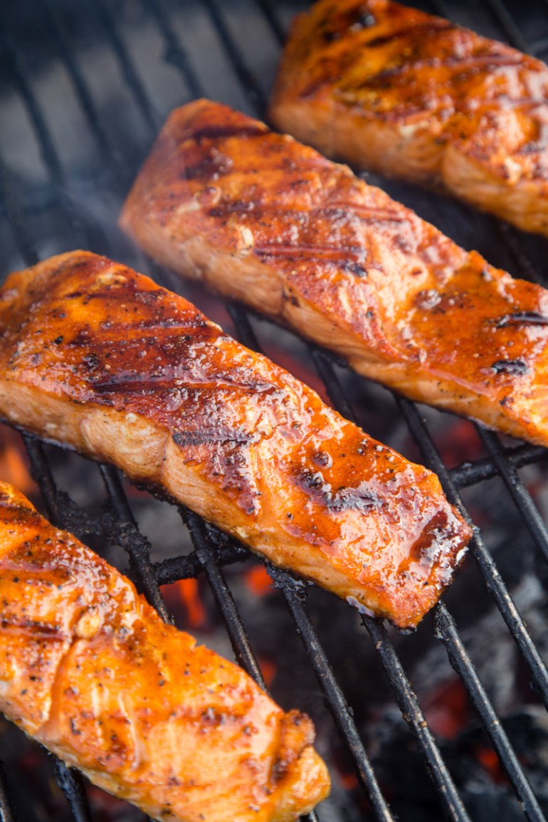 Grilled Salmon with Sweet Glaze on the grill