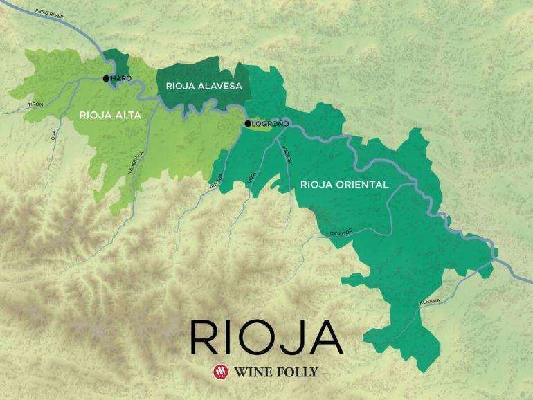 New Wine Map of Rioja including Rioja Oriental by Wine Folly