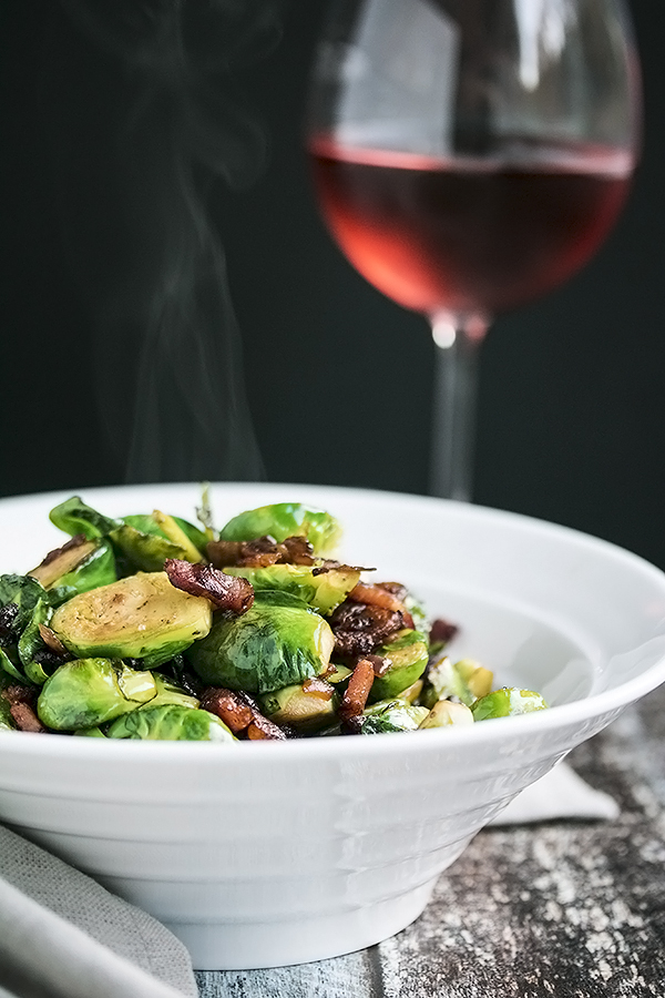 a bowl full of pan fried brussel sprouts