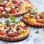 looking down on a baked cheese and tomato tart