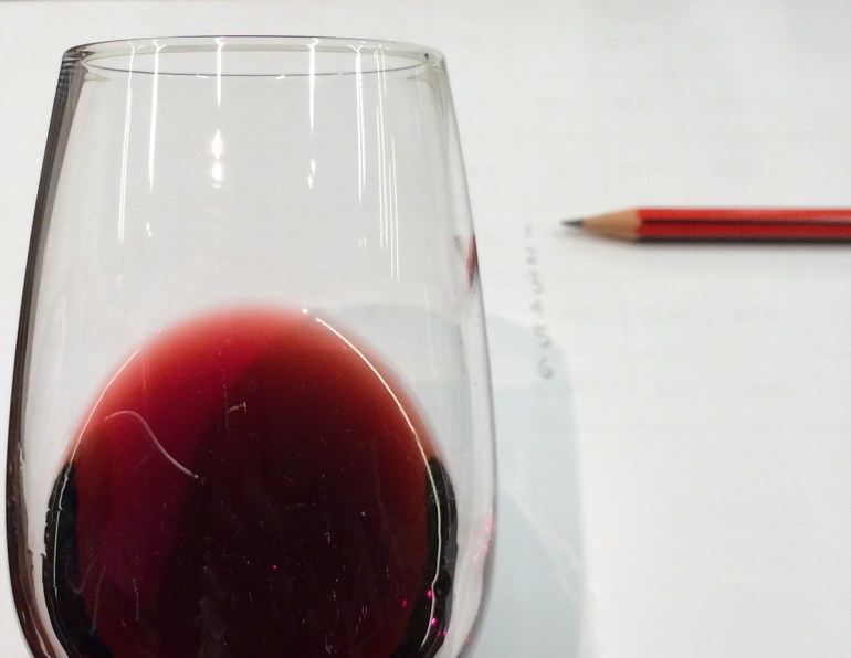 Color of a red wine in a glass