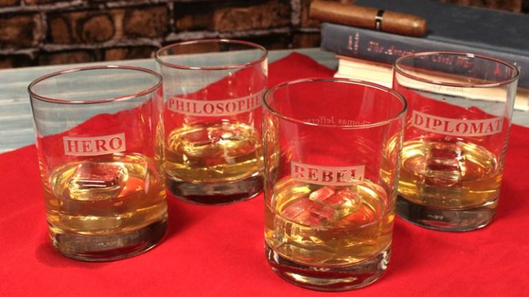 Hero/rebel whiskey glasses