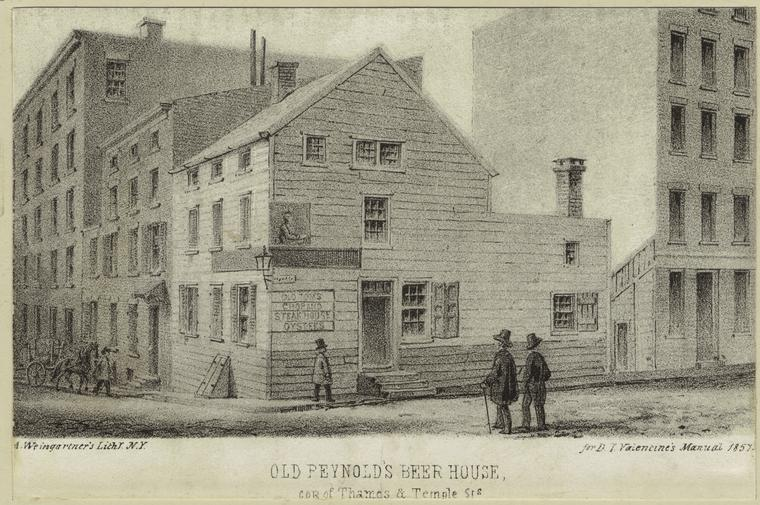 Old Reynold's beer house, Thames & Temple Streets, 1857