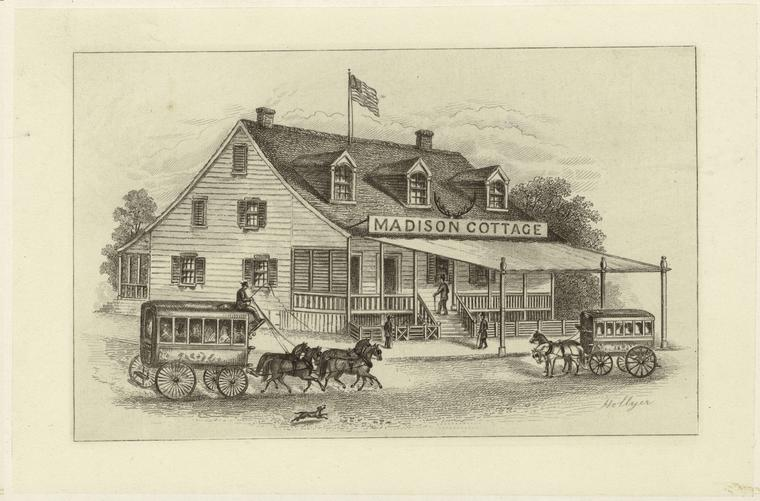 Madison Cottage, At Broadway And 5th Avenue, 1850.