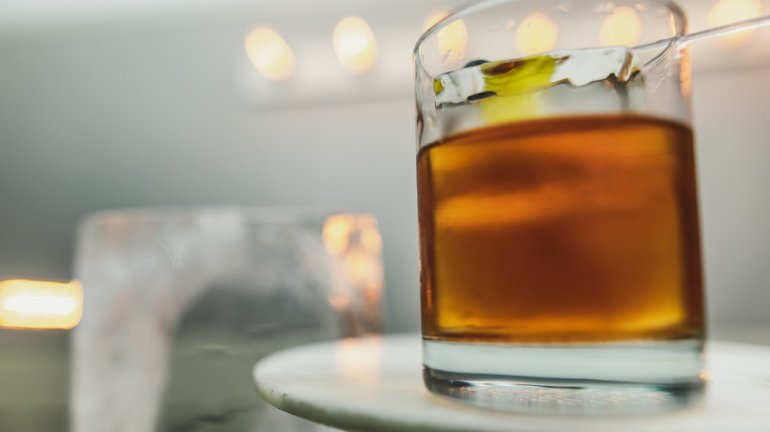 Improved Whiskey Cocktail Classic Cocktail with Whiskey and Absinthe.jpg