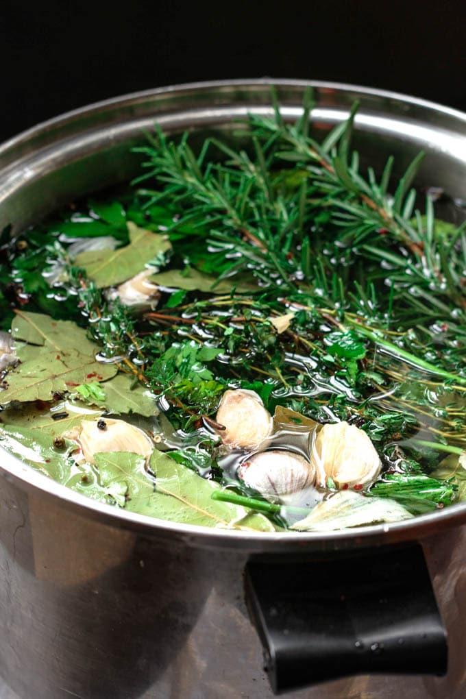 turkey brine liquid in a big pot