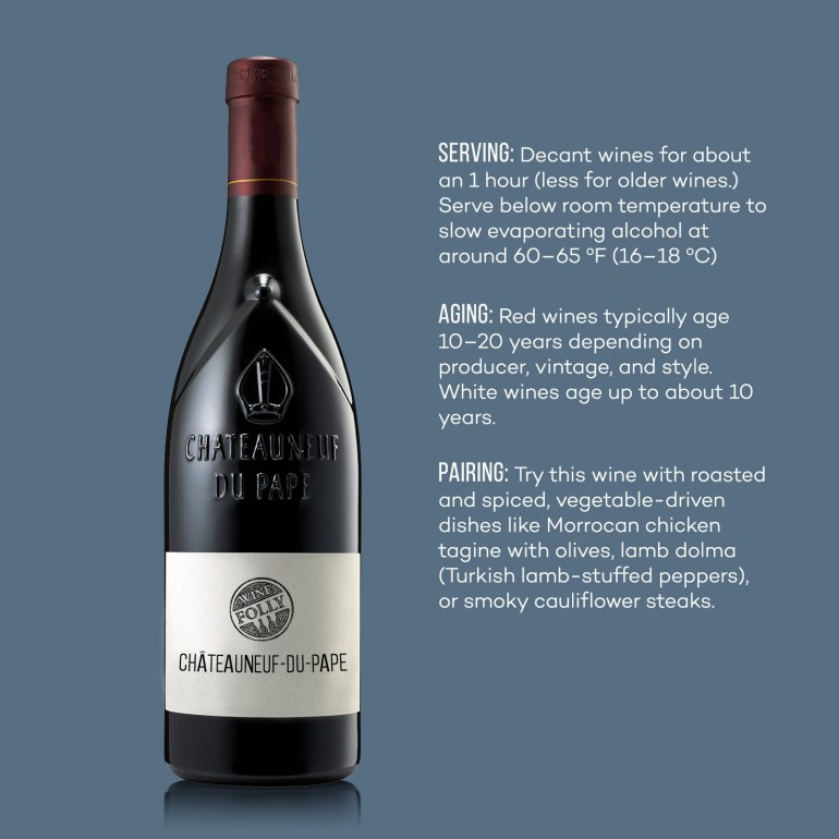 Chateauneuf-du-Pape wine serving, aging notes