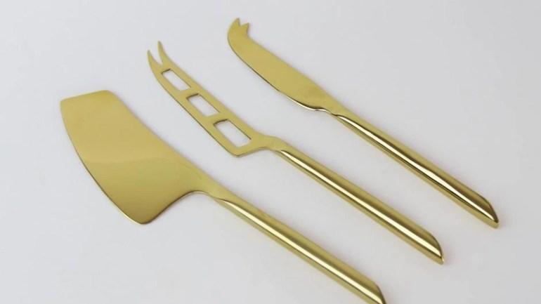 Gold Plated Cheese Knives Set of 3