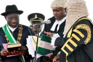 Goodluck swearing to ignore his inaugural speech