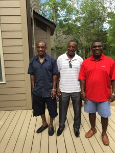 """Kenneth Boardman and Donald """"Stone"""" Igwebuike of CIC and Rangers, with another Rangers legend Nnamdi Anyafo in Charlotte, North Carolina this year"""