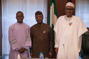 Mbaka with Osinbajo and Buhari in Abuja