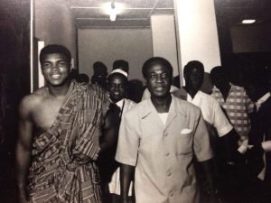Ali with Ghanaian leader Kwame Nkrumah in Accra