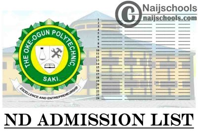 The Oke-Ogun Polytechnic Saki (TOPS) 1st, 2nd, 3rd, 4th & 5th Batch ND Full-Time Admission List for 2020/2021 Academic Session | CHECK NOW