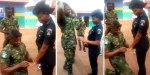 Video: Nigerian Soldier Publicly Proposes To His Beautiful Police Lover
