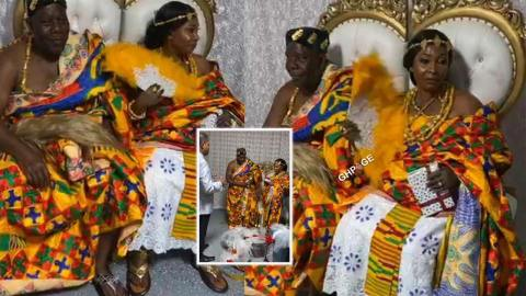 Photos from the wedding ceremony of Kyeiwaa and husband in the USA