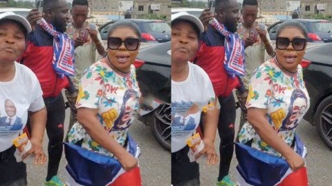 Afia Schwarzenegger campaigns massively on the streets of Accra for Akufo-Addo (Video)