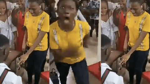 Beautiful Lady Runs Mad While Trying To Accept Proposal Ring From Boyfriend