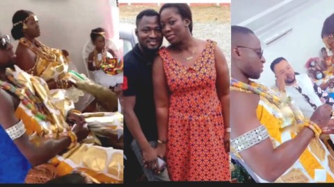 Nana Adwoa, Funny Face's Ex Wife Marries In A Traditional Ceremony (Video)