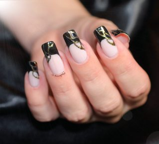 NAIL ART FRENCH NOIRE FOILS OR (3)