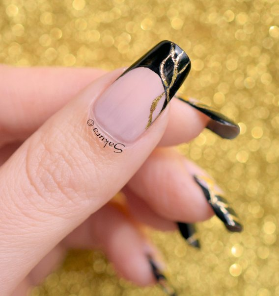 NAIL ART FRENCH NOIRE FOILS OR (9)