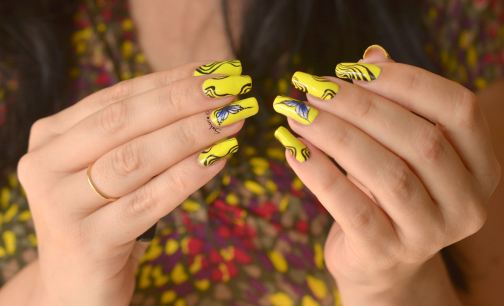 NAIL ART ONE STROKE PAPILLONS FLUO 3