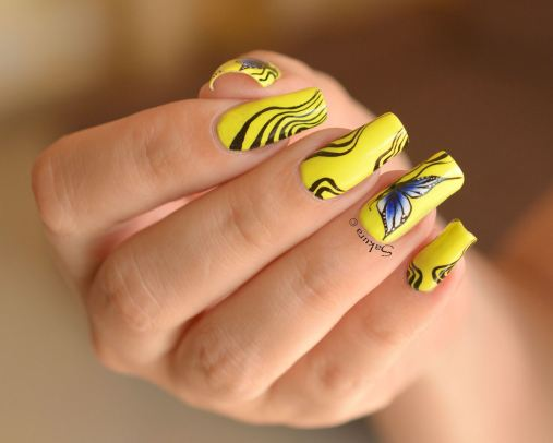 NAIL ART ONE STROKE PAPILLONS FLUO 7