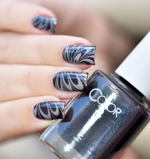 NAIL ART WATERMARBLE CAFE 8