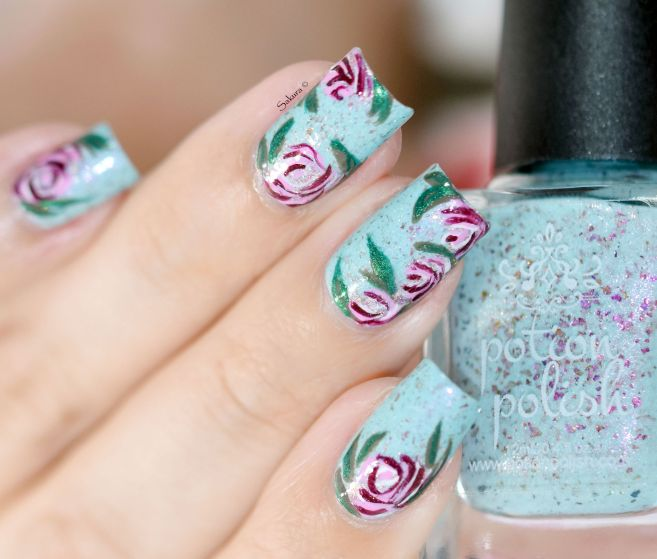 NAIL ART ROSES VINTAGES 4