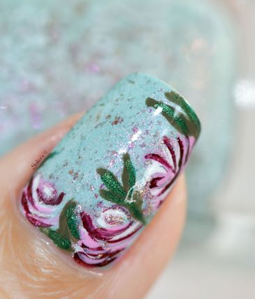 NAIL ART ROSES VINTAGES 7