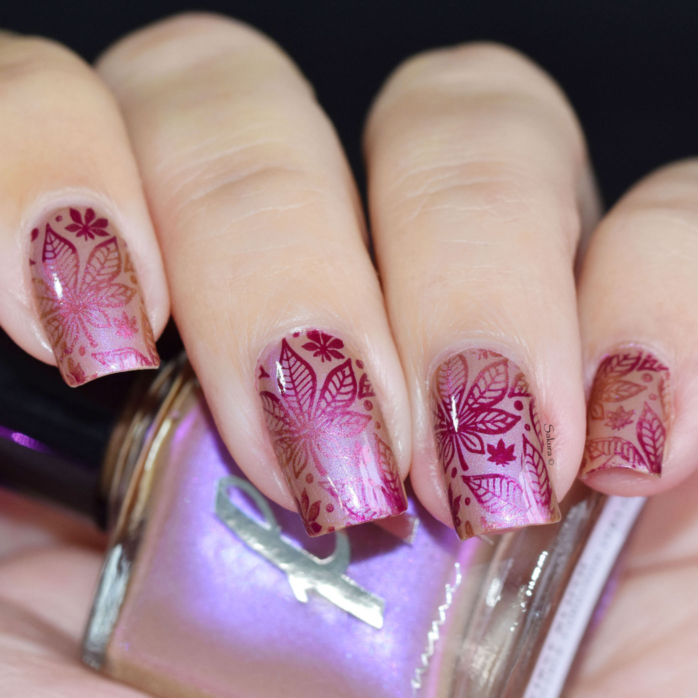 NAIL ART AUTOMNE ROSE 2