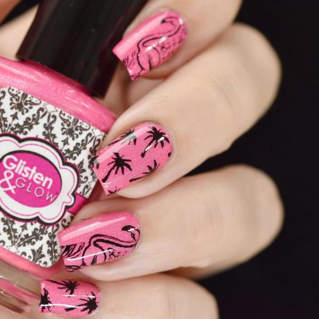 NAIL ART PINK FLAMINGO 2