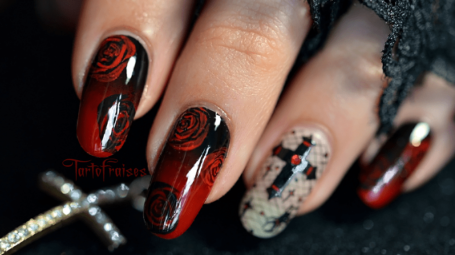 nail art pour un halloween gothique tartofraises. Black Bedroom Furniture Sets. Home Design Ideas