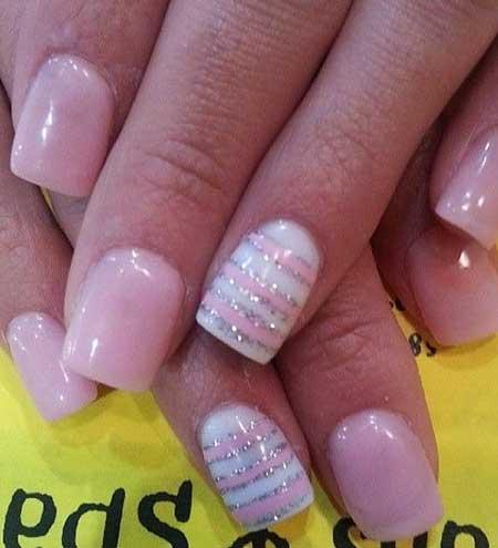 Nail Art Pink And Silver