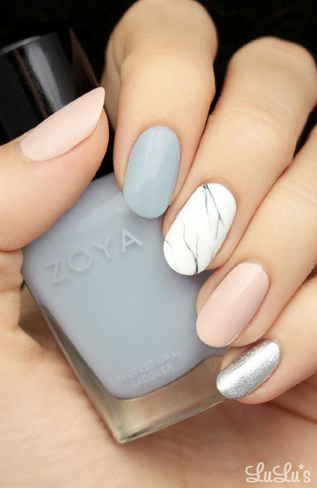 Grey And White Nail Marble Design Art Tutorials