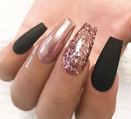 6 Black And Rose Gold Nails 72 Nail Art Designs 2020