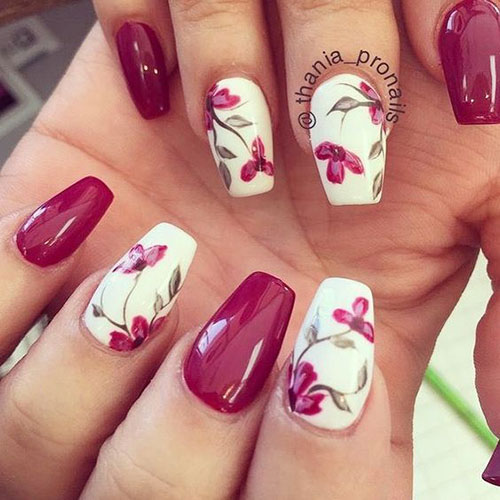 20 Cute And Stylish Floral Nail Designs Nail Art Designs 2020