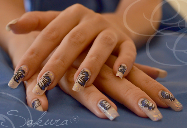 Nail art one stroke butterfly 2